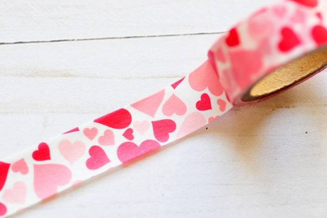 Heart Washi Tape // 15mm // 5 yards // Valentine's Day // Planner Accessory // Planner Pages // Holiday Washi // Journaling
