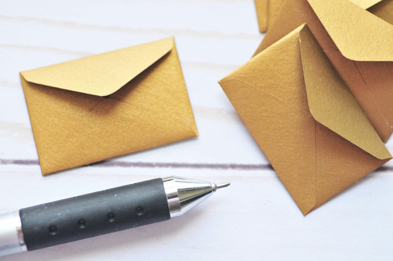 bulk tiny envelopes gold  love notes  blank cards