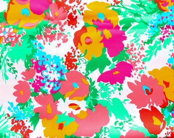 1970's Spilke's Neon Day Glo Screen Printed Floral Silky Fabric Flower Field Fashion Materials Dress or Skirt Spilke