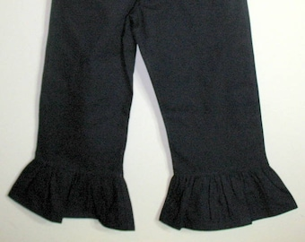Little Girls Black Ruffle Pants Twill Boutique Style Pants Toddlers and Girls Size 1 to 8