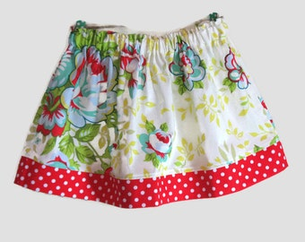 Girls Skirt Twirl Skirt Modern Floral Blue Green Yellow Roses Red Polka Dots