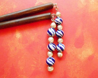 sale - Blue Willow -  hanging hair sticks in blue and while porcelain and silver