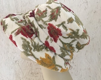 Vintage 60s Tapestry Hat Sage Green Cranberry Red Mustard Bucket Hat Union Label