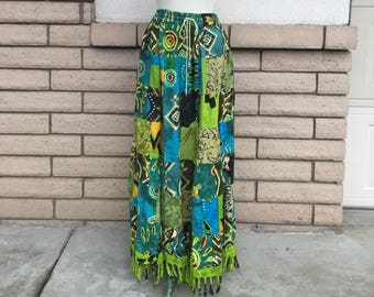 Vintage Patchwork Maxi Skirt 90s Green Fringed Hippie Boho Gypsie Broomstick Skirt M L XL One Size