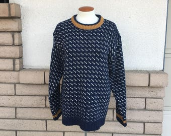 Vintage Wool Sweater Slouchy Navy Blue Print Crew Neck Pullover Sweater by Free People Original Size L-XL