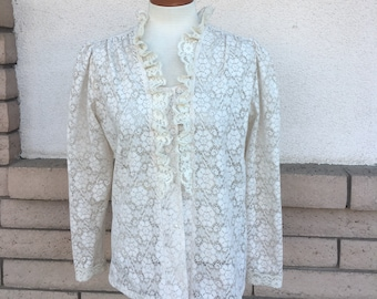 70s White Lace Blouse Ruffled Sheer Puff Sleeve Shirt Top Medium