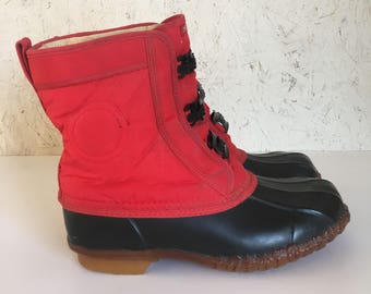 Vintage Roffe Snow Boots Red & Black Sherpa Lined Steel Shank Size 6