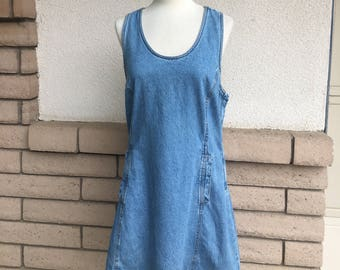 Vintage 80s 90s Denim Mini Dress Stone Wash Jean Dress Jumper by Jordache Size Small