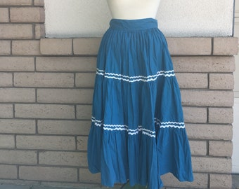 Vintage 50s Patio Squaw Skirt Blue Tiered Full Circle Skirt Waist 26-29