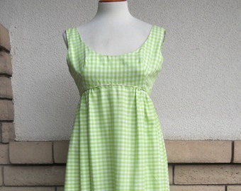 Vintage Emma Domb Maxi Dress Country Green Gingham Checks Empire Waist Size XS