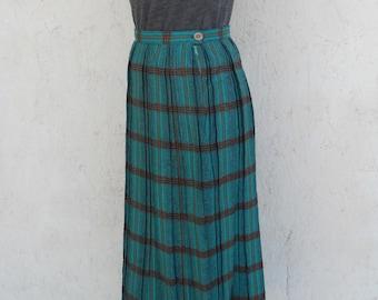 50s PLAID Skirt . High Waist Pleated Midi Skirt by Alex Colman