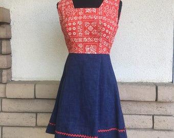 70s Mini Dress Red Bandana Folk Print Ric Rac Sleeveless Dress Extra Small