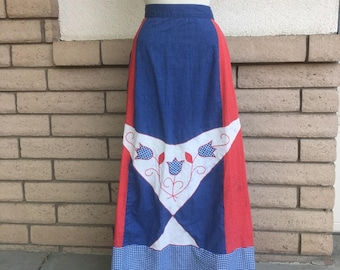Vintage 70s Folk Skirt Red White Blue TULIP Applique Skirt Wrap Around Maxi Skirt Size Medium 28 Waist