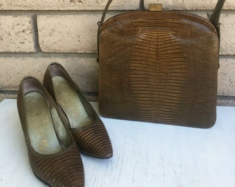 50s Reptile High Heels & Purse Designer Set by Palizzio Size 6-7
