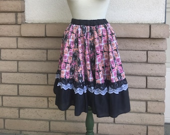 Vintage Western Skirt 80s Gored Full Circle Tribal Lace Knee Length Square Dance Skirt Size L-XL