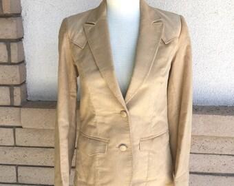 Vintage Western Jacket, Buckskin Corduroy & Suede Jacket by Pioneer Wear LIKE NEW Size XS-S