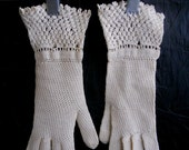 Vintage Style Gloves- Long, Wrist, Evening, Day, Leather, Lace Vintage 50s 60s Gloves Crocheted Wrist Gloves Intricate Lacy Wedding Gloves $25.00 AT vintagedancer.com