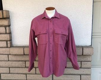 11b8b6ef83e33 LL Bean Mauve Pink Chamois Cloth Shirt Vintage Women s Cotton Shirt Jacket  Size 8