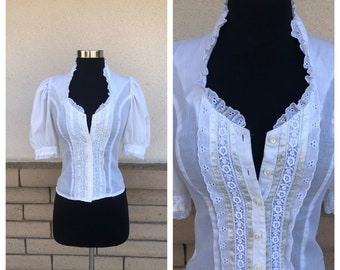 7391c3a58 Vintage 70s White Gunne Sax Blouse Jessica s Gunnies Boho Lace Button Up  Top Size Extra Small XS