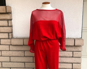 0fda5a69c6b 80s Terry Cloth Jumpsuit Red Mesh Romper Open Weave Dolman Sleeves Playsuit  Onesie Medium