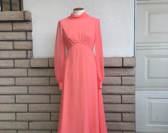 c31aa3ace7b Vintage 70s Party Dress Emma Domb Coral Prom Dress Chiffon Formal Floor  Length Gown Small