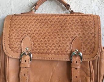 Vintage Tan Natural Leather Crossbody Messenger Bag Satchel Saddle Bag Mini Briefcase Made in Paraguay