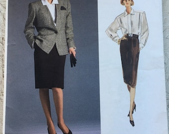 Vintage 80's Designer Anne Klein Vogue Pattern Jacket, Blouse & Skirt UNCUT Size 16