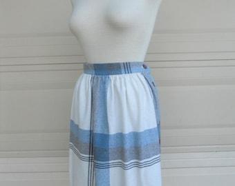 70s plaid skirt . blue cream high waist skirt . New York Clothing Co.. 25 waist