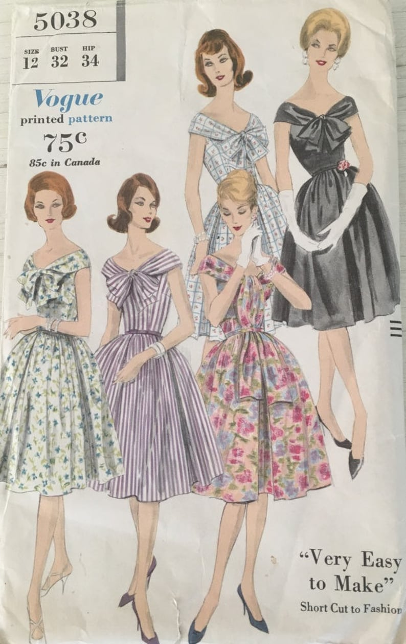 68573b0bc83 60s Vogue Dress Pattern . 1960 Fit and Flare Dress Pattern .