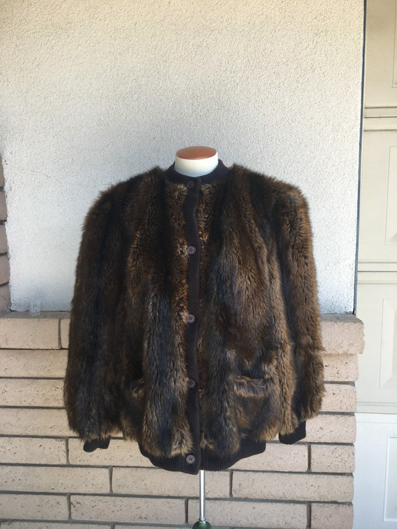 Vintage LILLI ANN Faux Fur Coat 1980s Fake Fur But