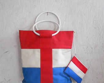 Beach Bag Tote 60's 70's MOD Shopping Tote and Coin Purse Patriotic Americana
