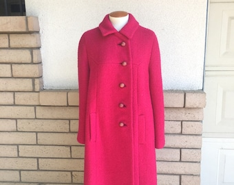 Vintage 60s Hot Pink Boucle Coat Fashioned by Bromleigh New York Size L