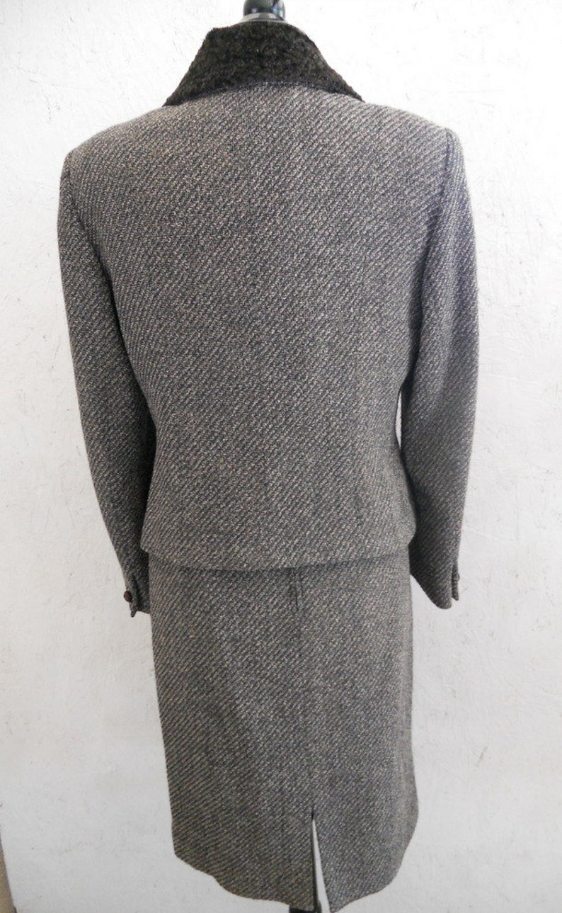 Tweed Skirt Suit Vintage 1980s Curly Persian Fur Collar Suit by Herbert Grossman Cynthia Sobel Neiman Marcus