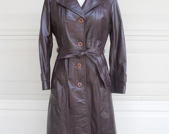60s 70s Oxblood Leather Trench Coat Belted Grandeur Style Size S-M