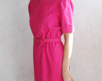 SALE 80s Summer Dress . Raspberry PINTUCK Double Breasted Day Dress . S-M
