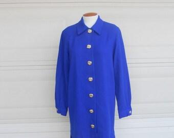 SALE 80s drop waist dress . royal blue button up . pleated skirt . M-L