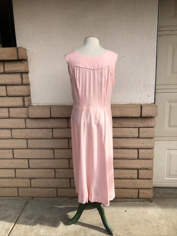 Vintage 50s Dusty Pink Dress + Lace Bolero Jacket… - image 8