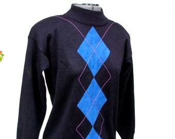 SALE Turtleneck Sweater, 80s Argyle Suede Sweater, Diamond Print, Pullover, Oversized LeRoy Knitwear Small