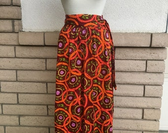 70s Ring of Flowers Hippie Maxi Skirt w/Matching Belt Size Small