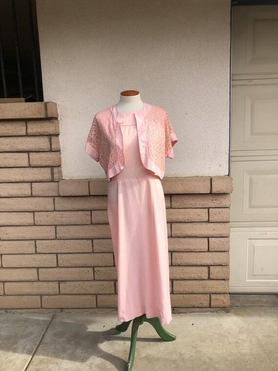 Vintage 50s Dusty Pink Dress + Lace Bolero Jacket… - image 6