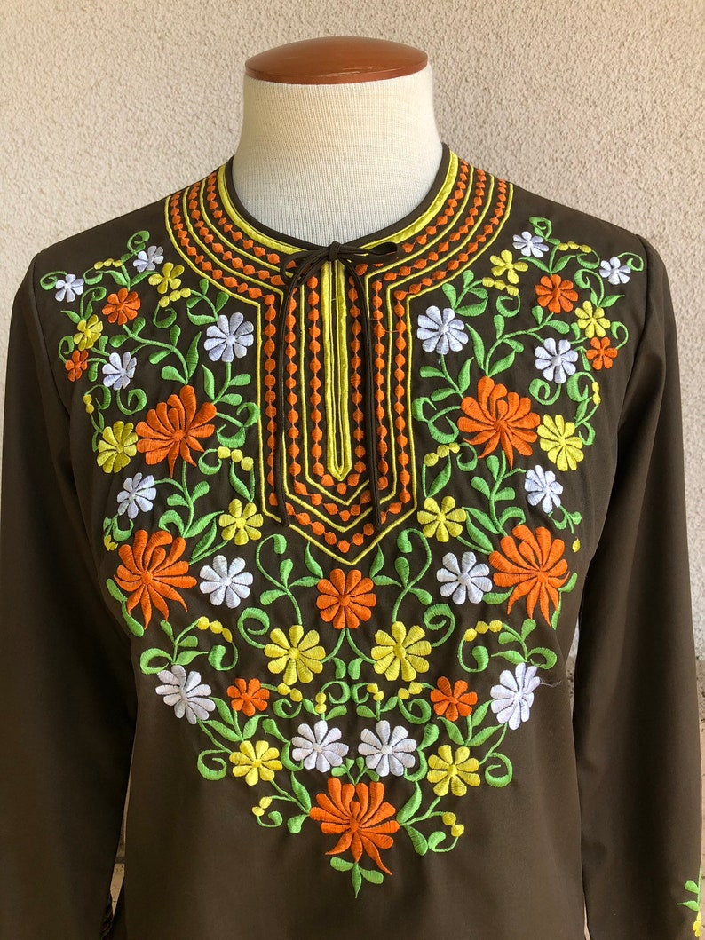 1f62c0c3ead67 70s Embroidered Boho Peasant Blouse Brown Fall Colored Hippie Button Back  Top Velosos Gift Shop Philippines Small