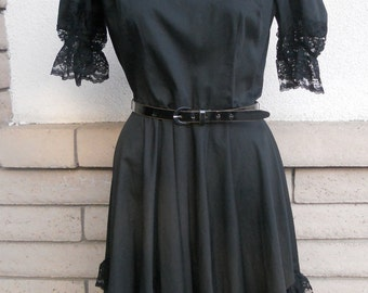Vintage Black Square Dance Dress w/Lace, High Waist Dress, Open Back Partners Please by Malco Modes Size S-M