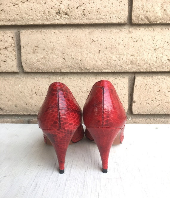 a7de8f13b50 Vintage Red Snakeskin Heels by Evan Picone NOS New Old Stock
