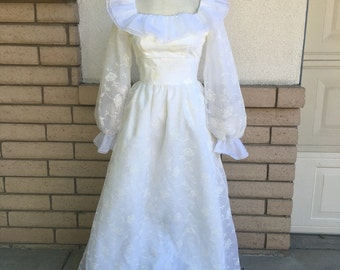 70s Embroidered Chiffon Lorrie Deb Wedding Dress w/Balloon Sleeves XS-S Like New