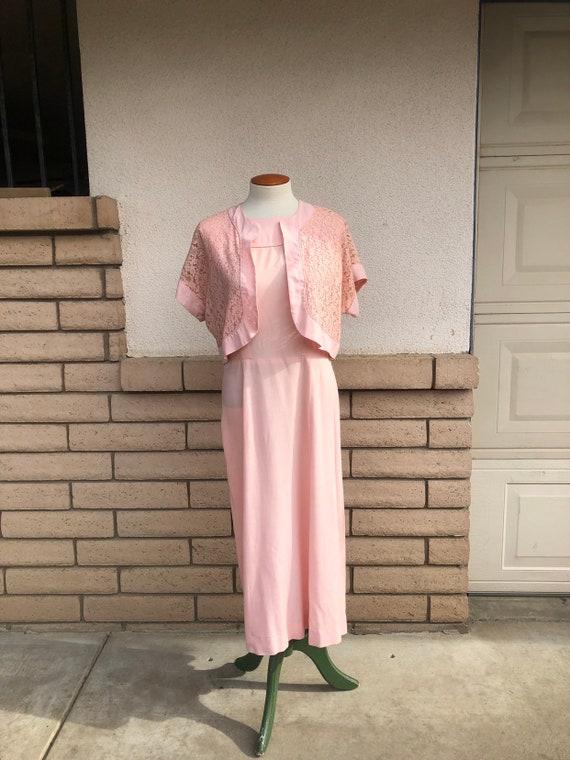 Vintage 50s Dusty Pink Dress + Lace Bolero Jacket… - image 4