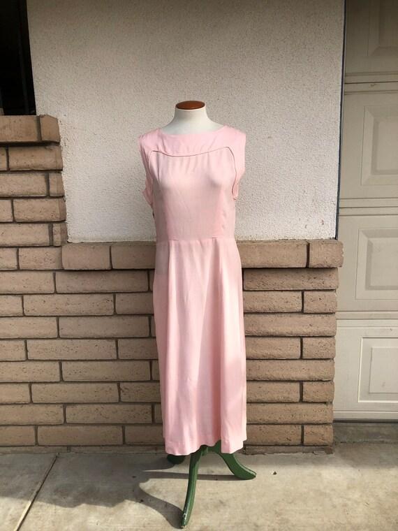 Vintage 50s Dusty Pink Dress + Lace Bolero Jacket… - image 5
