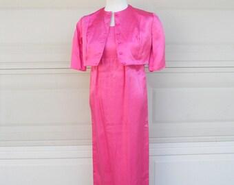 SALE 60s Maxi Babydoll Dress Hot Pink Empire Waist Bolero Dress Silk Shantung 2 Piece Set XS-S