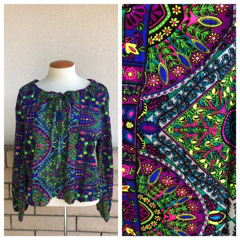 5601a62acc6 70s Hippie Psychedelic Neon Crop Top Purple Blue Green Floral | Etsy