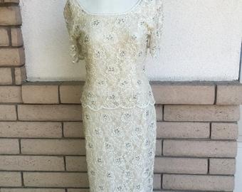 80s Ecru Beaded Hourglass Maxi Dress by Stenay Size Medium
