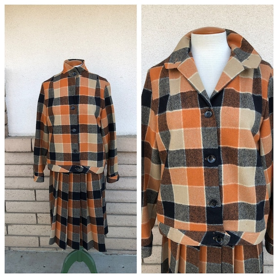 Vintage 50s Plaid Wool Skirt Suit Burnt Orange Lar